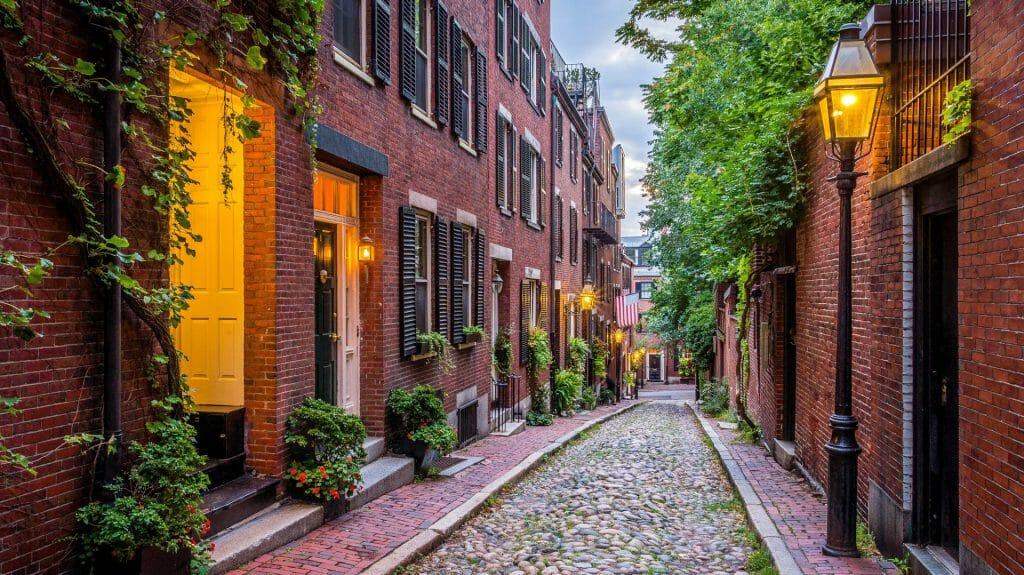 Acorn Street, Boston, New England, USA