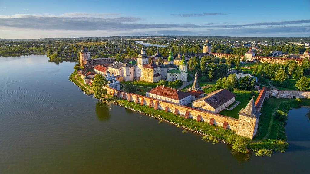 Aerial view of Kirillo Belozerskiy Monastery, Goritsy, Volga Dream Cruise, Russia