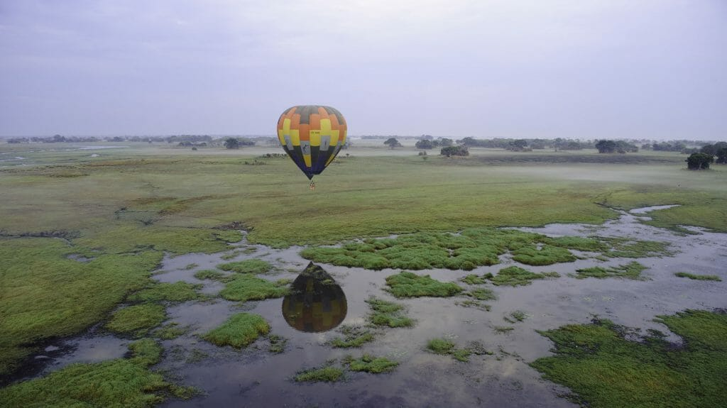 Balloon over Busanga Plains, Kafue National Park, Zambia