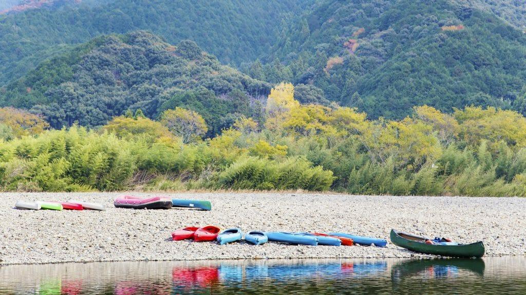 Canoes on the Shimanto River Bank, Shikoku, Japan