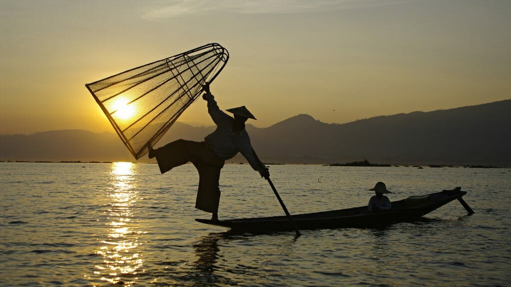 Fisherman Silhouette, Inle Lake, Myanmar