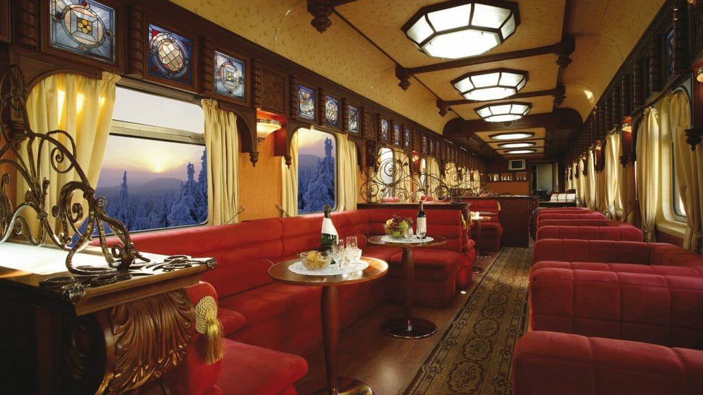 Golden Eagle Train, Bar Carriage in winter, Russia