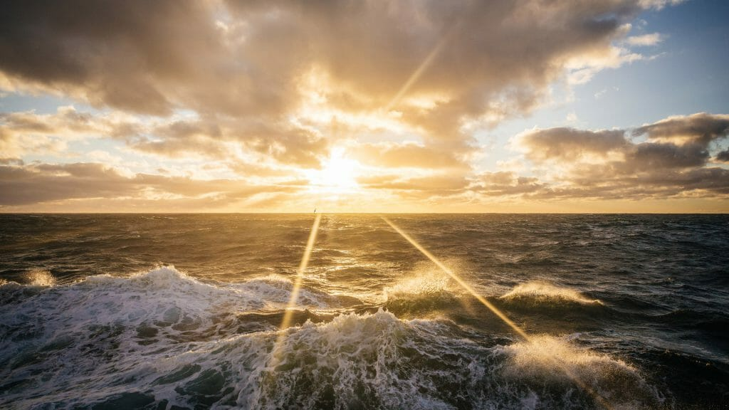 Golden sun over the Drake Passage