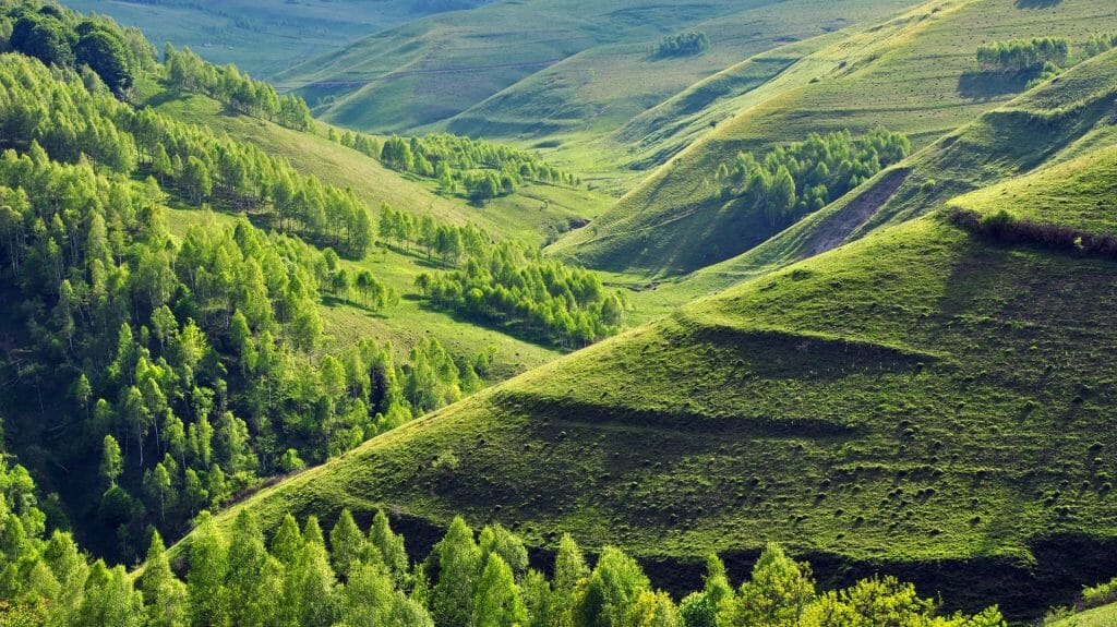 Green hills and a winding valley, Transylvania, Romania