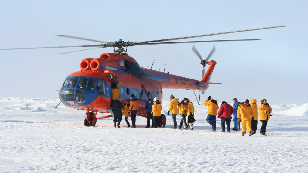 Helicopter landings, North Pole, Arctic