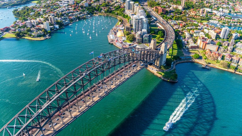 Helicopter view of Sydney Harbor Bridge and Lavender Bay, New South Wales, Australia