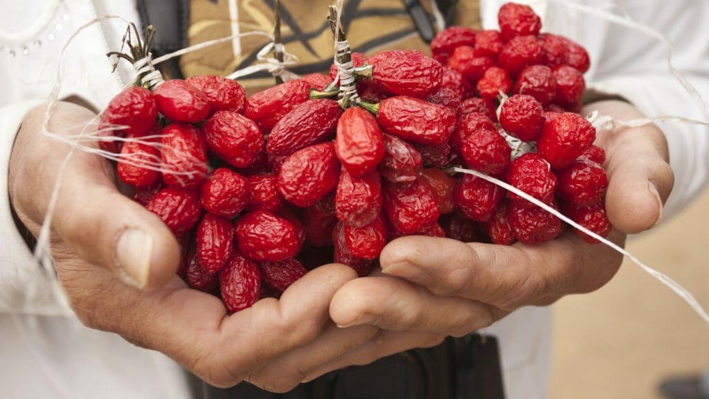 Handful of red peppers, Malawi