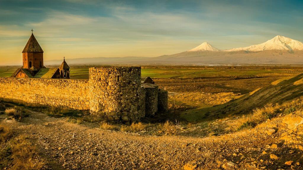 Khor Virap Monastery panorama at sunrise in front of Ararat Mountain, Armenia