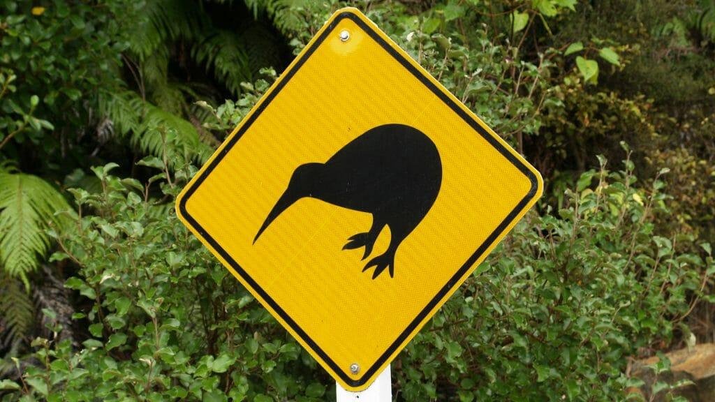 Yellow diamond shaped sign with a black kiwi shape on it.