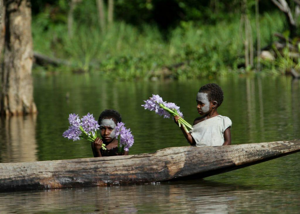 Kumbarumba village, Sepik River flower sellers, Papua New Guinea