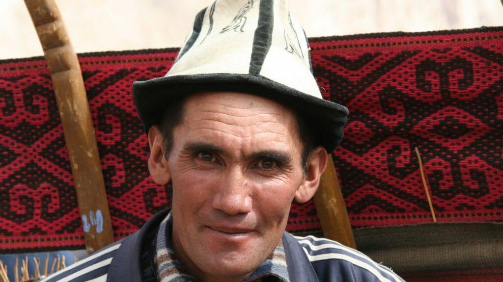 Kyrgyz nomad by yurt, Bulunkul, Tajikistan