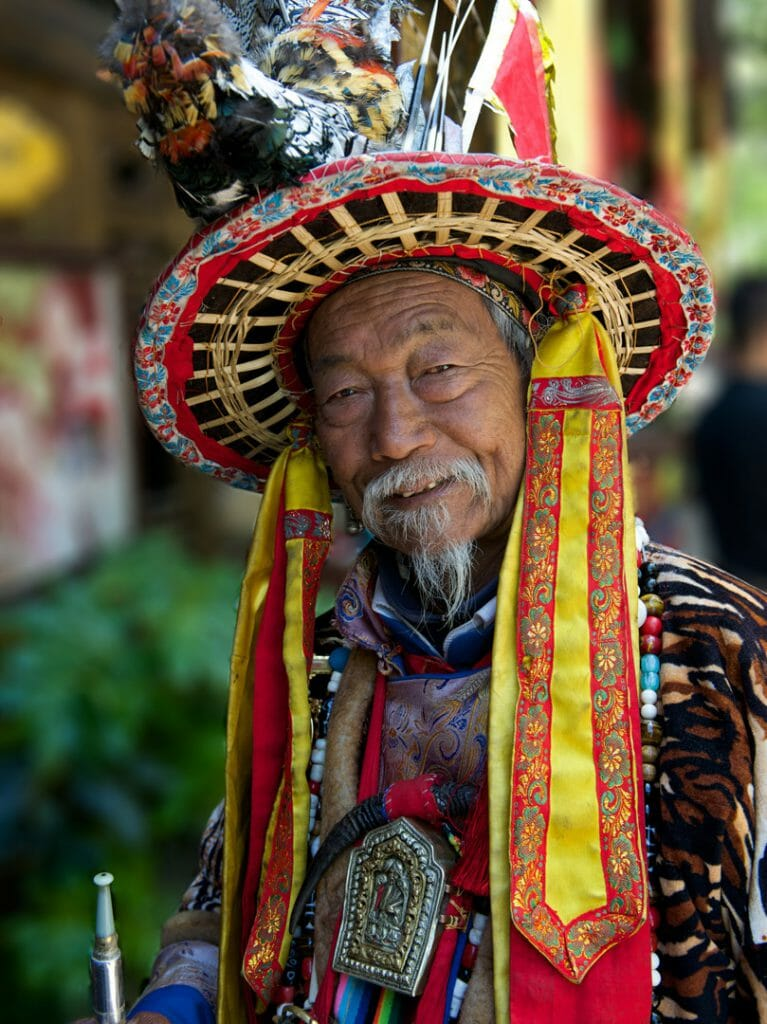 Man dressed in Naxi Nationality Outfit, Lijiang, China