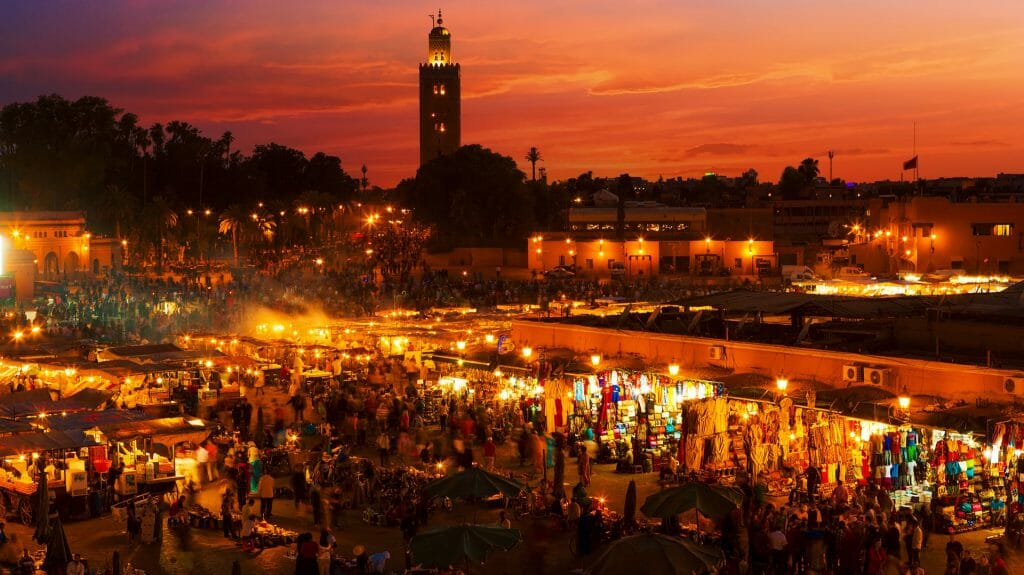 Market Square at Dusk, Marrakesh, Morocco
