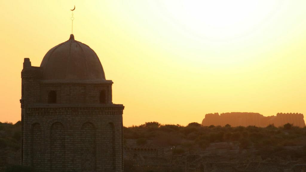 Mosque and Kyz Kala at Sunset, Merv, Turkmenistan