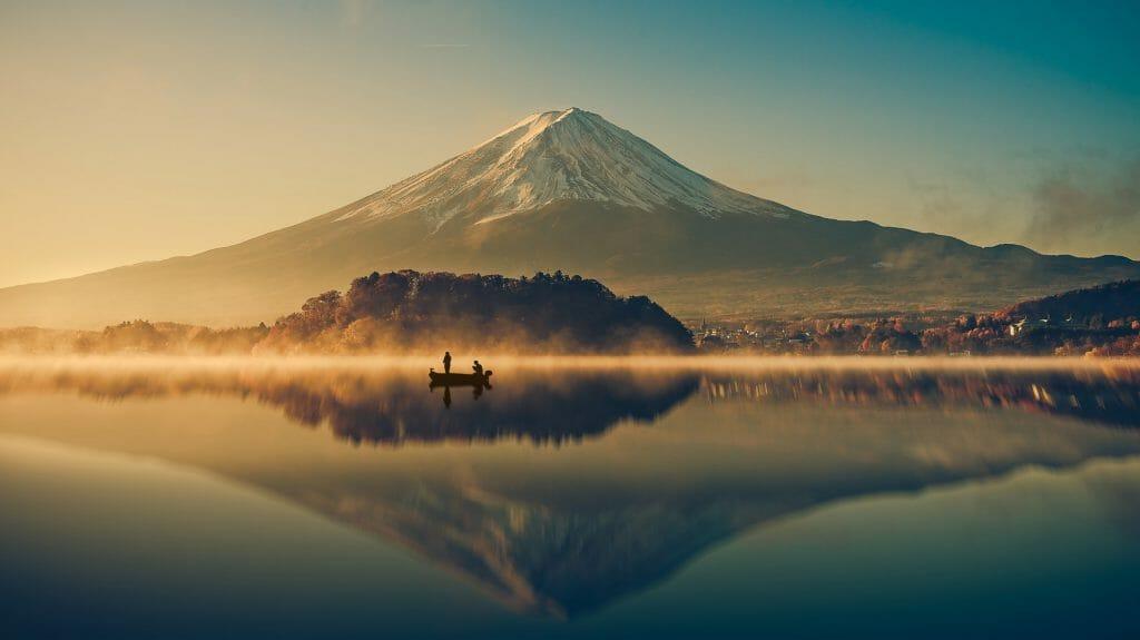 Mt.Fuji reflection on sunrise, Japan