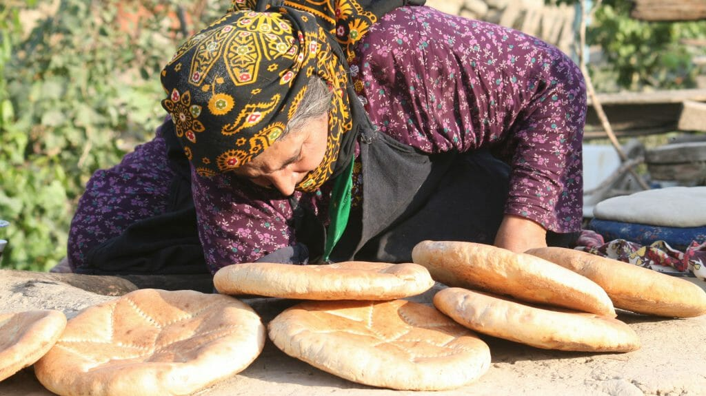 Old Lady Baking Bread, Nokhur, Turkmenistan
