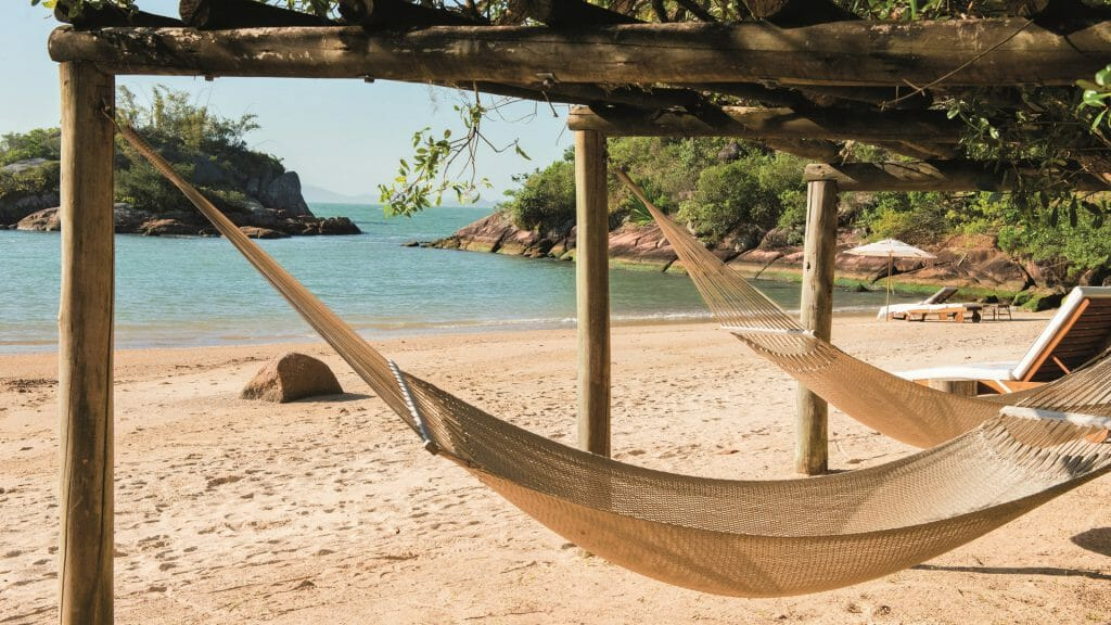 Ponta dos Ganchos, Hammocks on the beach, Florianopolis, Brazil