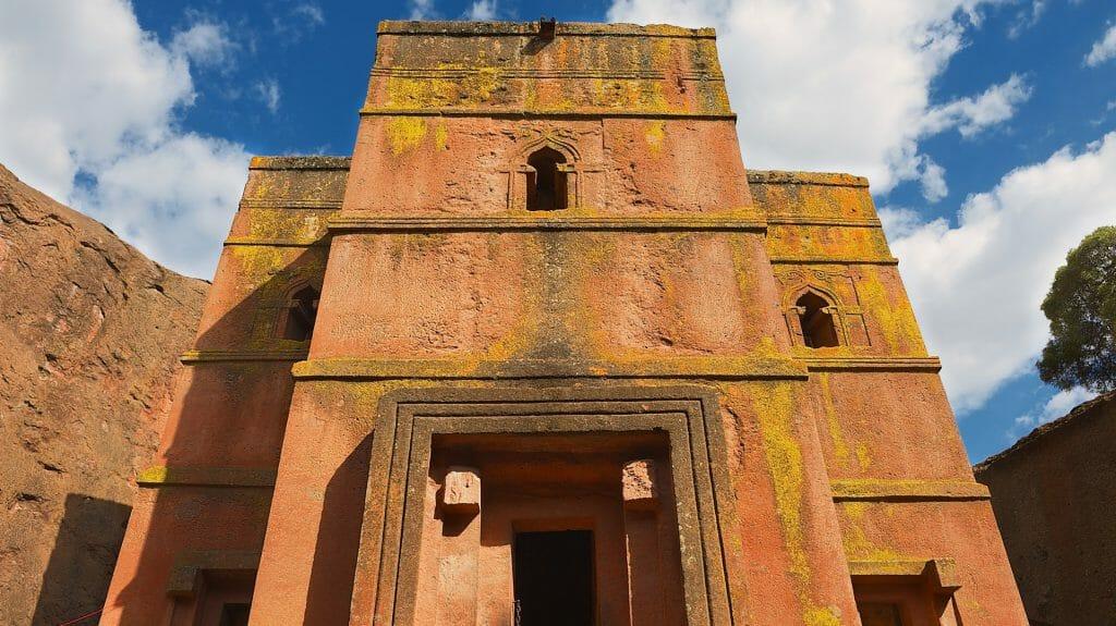 Unique monolithic rock hewn Church of St. George (Bete Giyorgis), UNESCO World heritage, Lalibela, Ethiopia