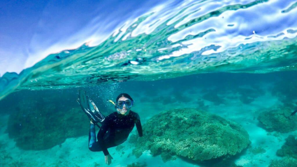 Underwater shot of snorkeller on Ningaloo Reef.