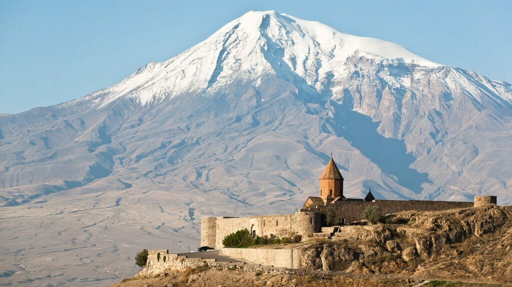 Snow Capped Mount Ararat and Khor Virap, Armenia