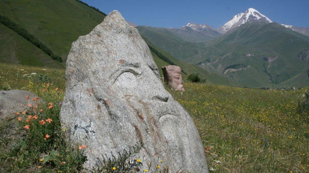 Stone Faces of Sno Village, Kazbegi, Georgian Military Highway, Georgia