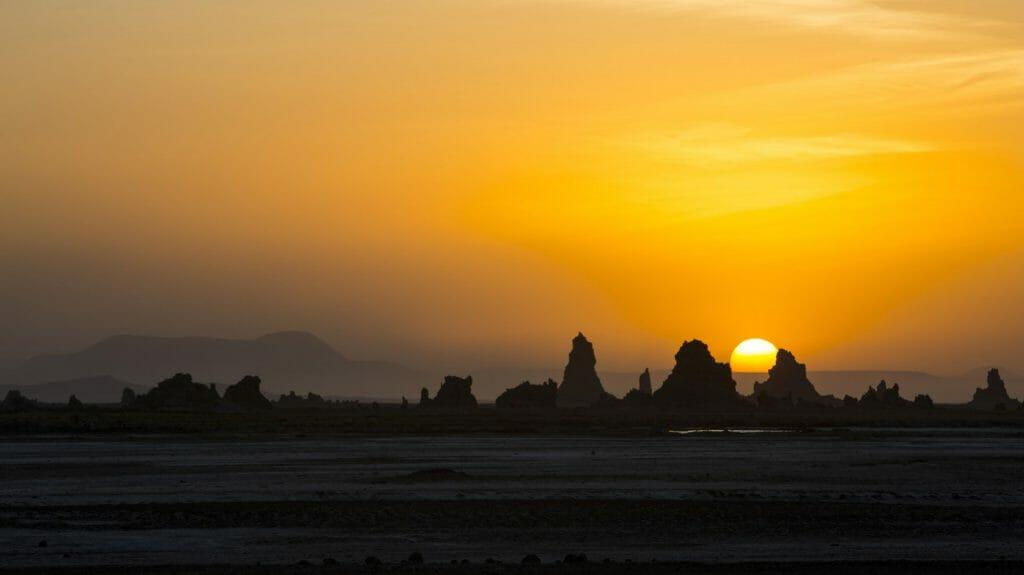 Sunset over Lac Abbe, Djibouti