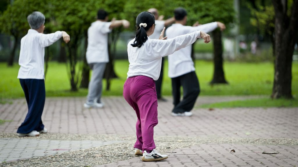 Rear view of local Chinese people doing Tai Chi in the park.