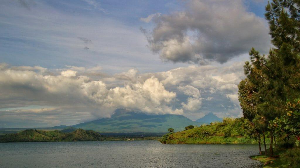 Looking from Tchegera towards Nyiragongo, Virunga National Park, Democratic Republic of Congo