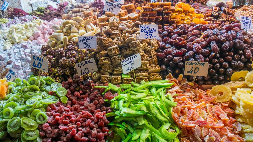 Typical turkish delights on sale at the market in Istanbul Turkey