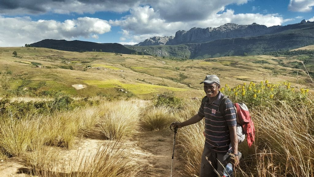 View of Andringitra with guide, Andringitra National Park, Madagascar
