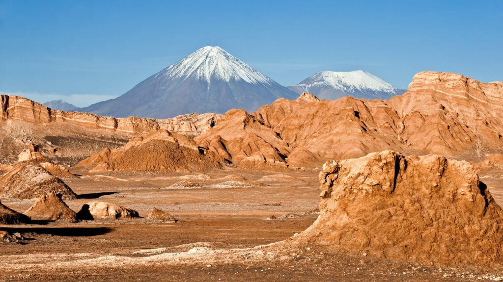 Licancabur and Juriques Volcanoes, Moon Valley, Atacama Desert, Chile