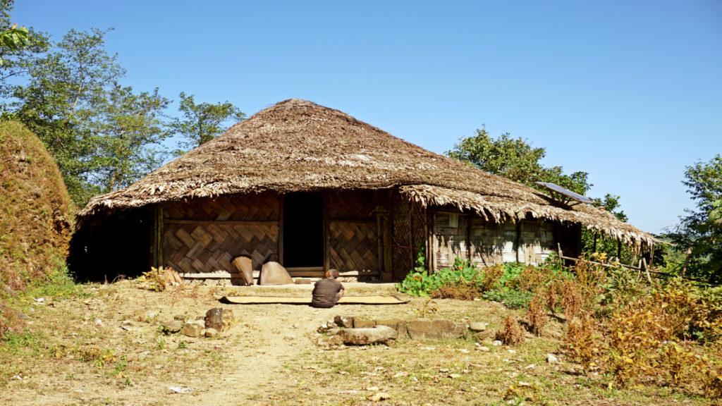 Wodden long house in Longwa tribal village, Mon, Nagaland, India