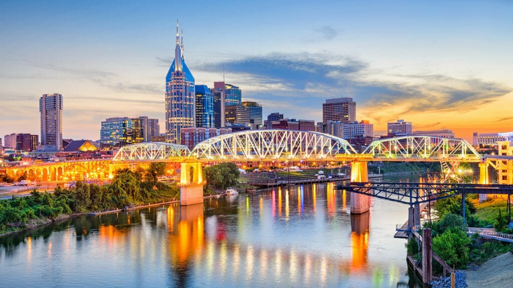 Nashville and Cumberland River, Tennessee, Deep South, USA