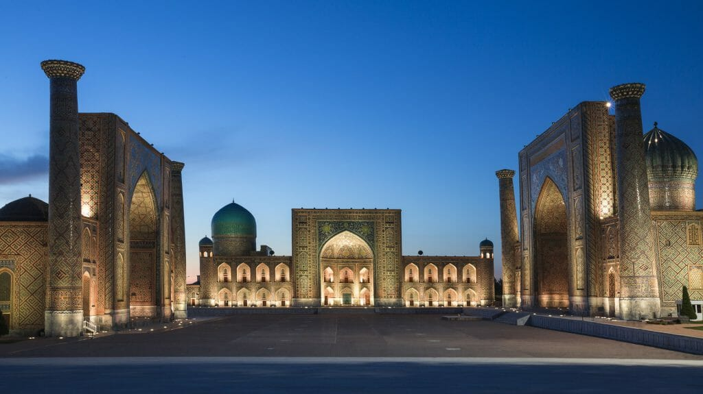 Registan Square at night, Samarkand, Uzbekistan