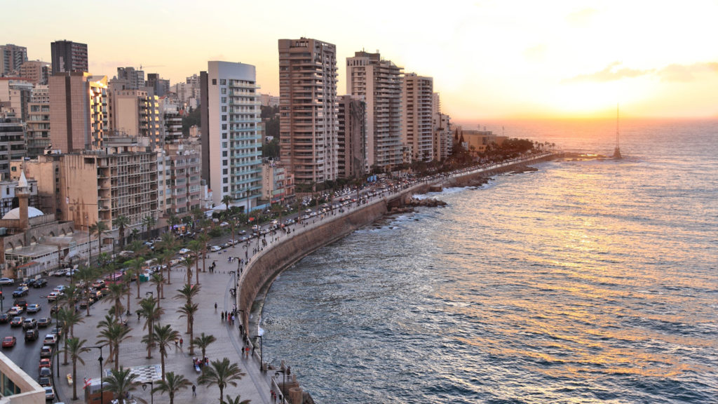 Coastline at sunset, Beirut, Lebanon