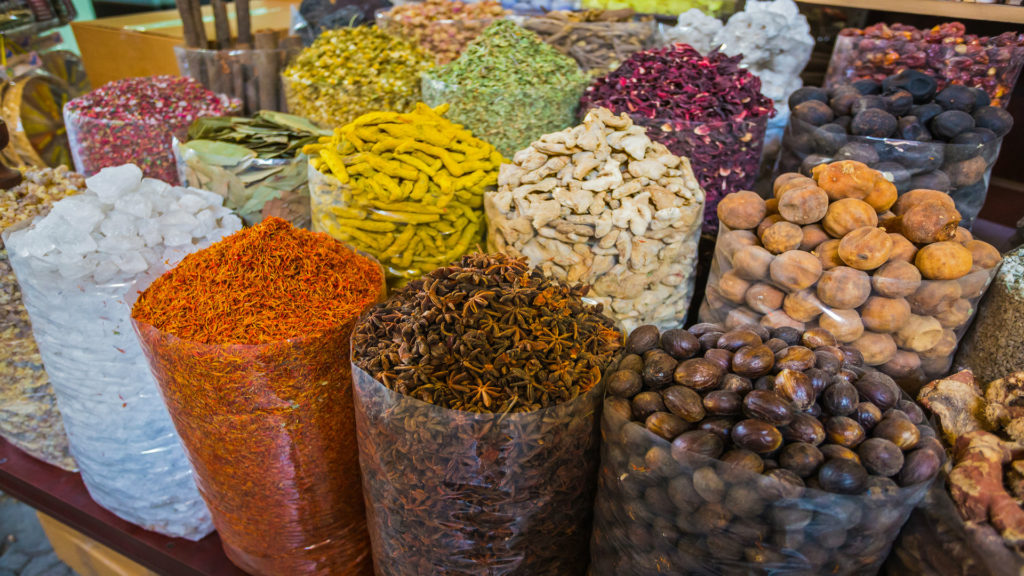 dried herbs flowers spices in the spice souq at Deira, Saudi Arabia