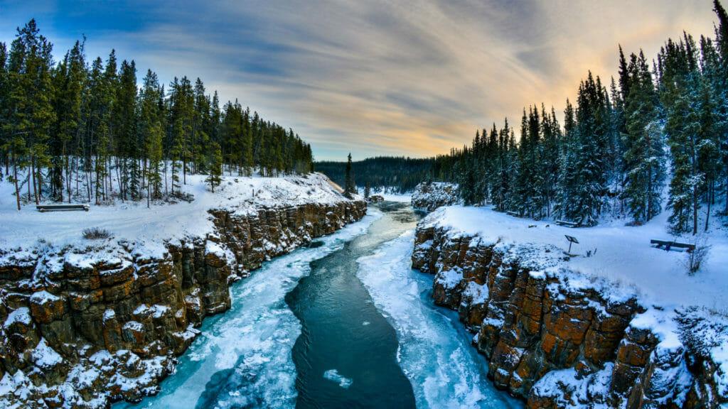 Frozen river, Forest, Yukon, Canada