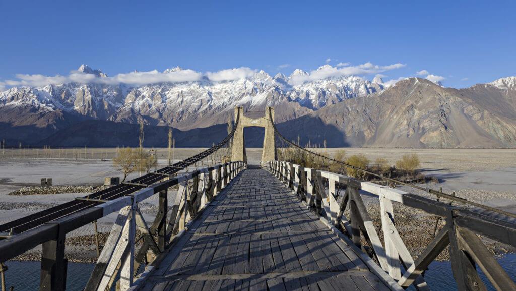 Bridge to Masherbrum mountain peak, Pakistan