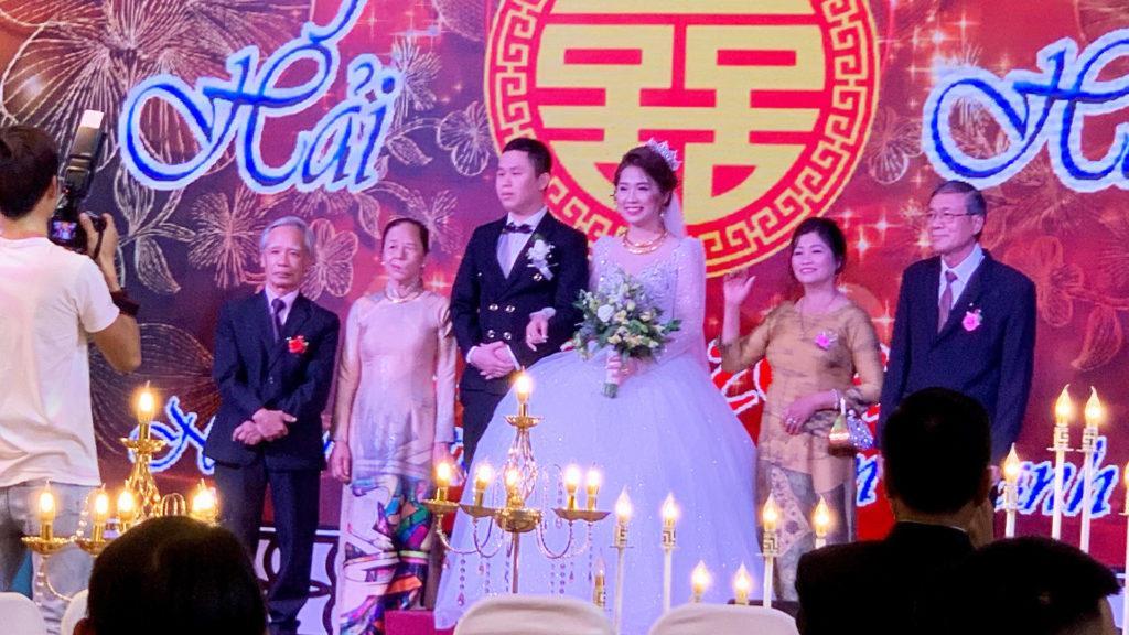 Vietnamese wedding bride and groom