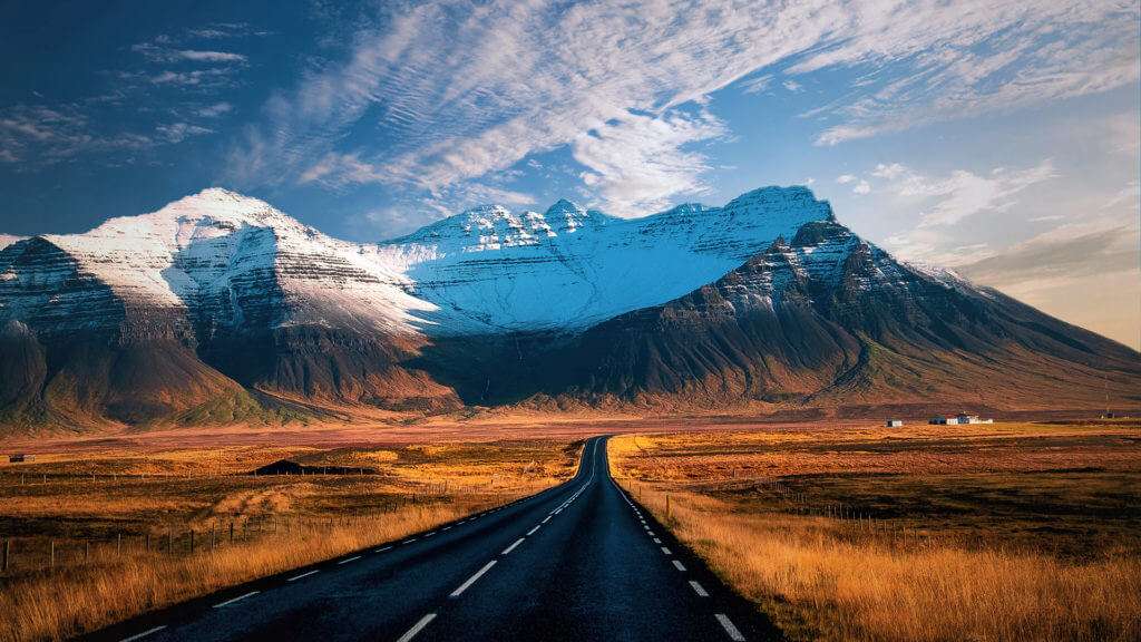 Route 1 road in Iceland