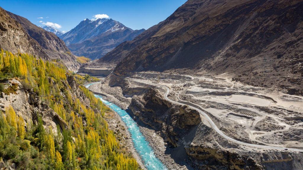 View from Altit Fort towards Hunza River, Karakorum Mountains, Pakistan