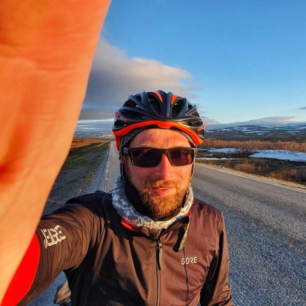 Rob Gardiner cycling in Norway