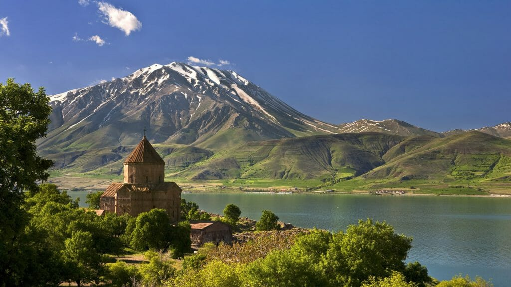 Akdamar Island in Van Lake, The Armenian Cathedral Church of the Holy Cross, Turkey