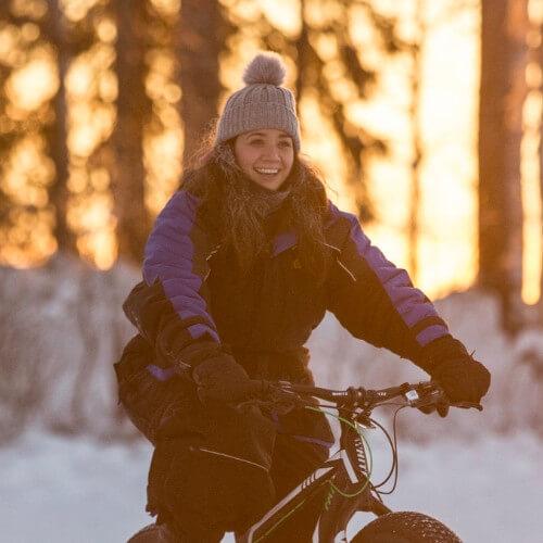 Amy Waters snow biking