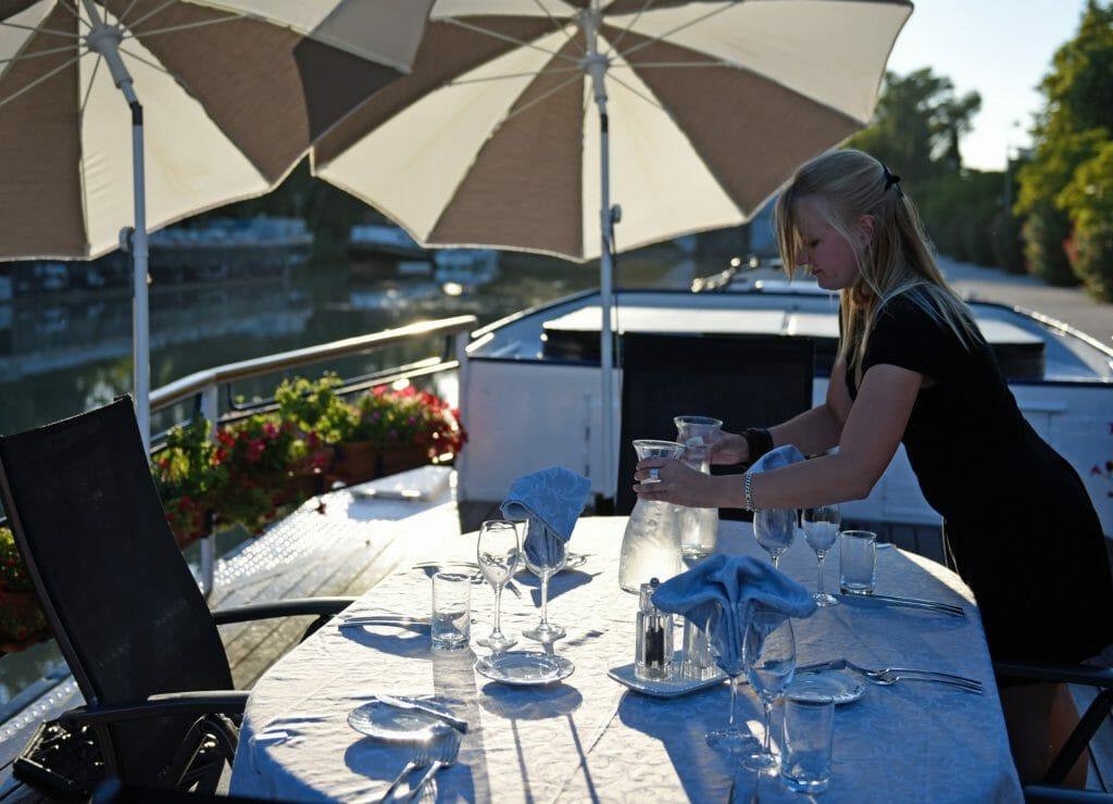 Dining on Barge, Barge Holidays, French Luxury Canal Cruise, France