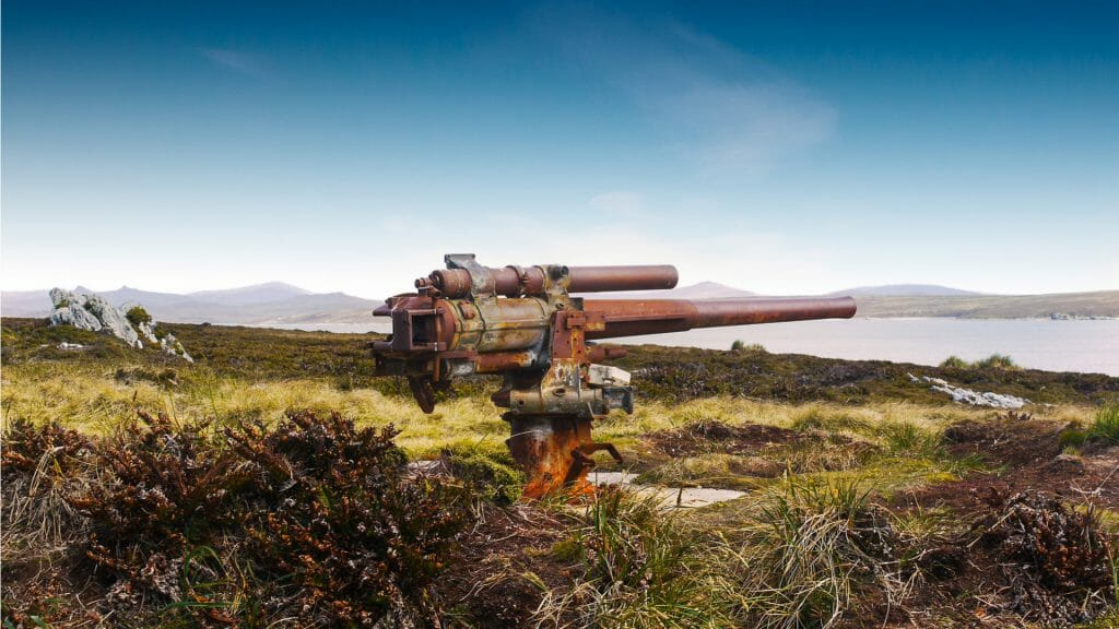 World War 2 Gun Relic, Ordnance Point, Falkland Islands
