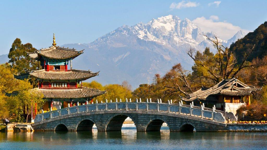 Black Dragon Pool Park, Jade Dragon Snow Mountain, Lijiang, China