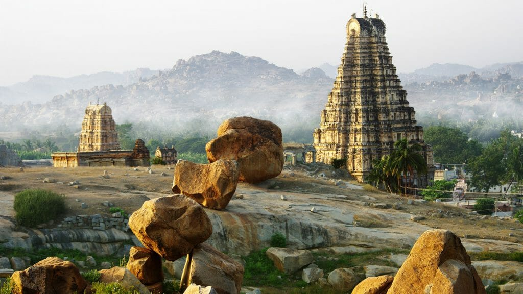 Boulders and Temple, Hampi, Karnataka, India