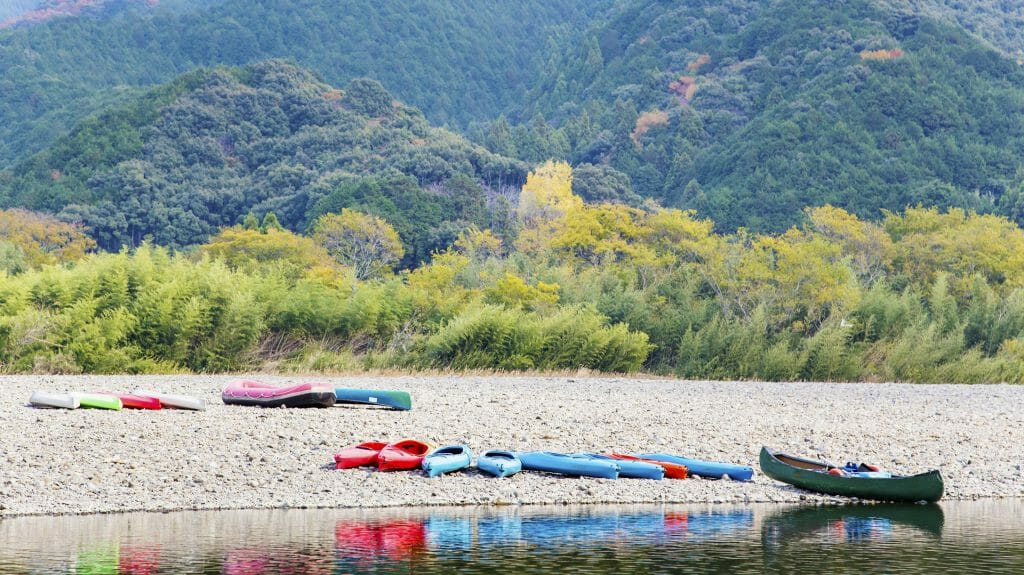 Canoes on the Shimanto River Bank, Shikoku, Japan