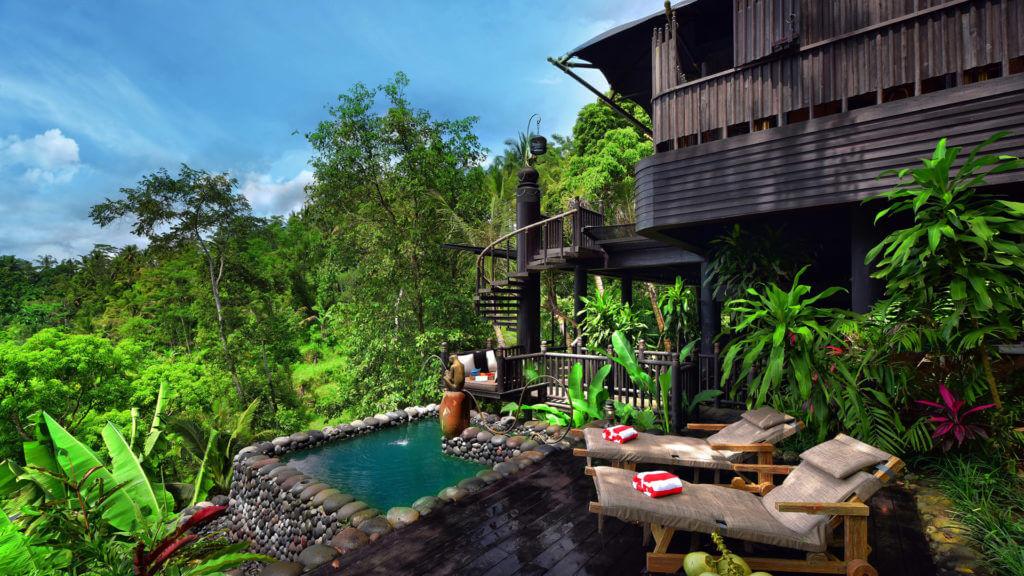 Capella Ubud, Private salt water pool and deck, Bali, Indonesia